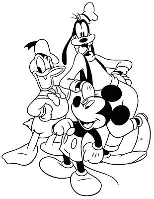 Pluto Donald Duck And Mickey Mouse Coloring Page With Images