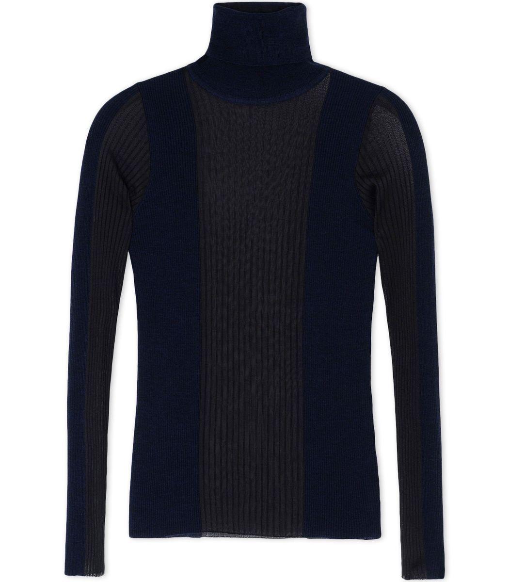 Emilio Pucci Sheer Navy Turtleneck Sweater | Knitwear | Pinterest ...