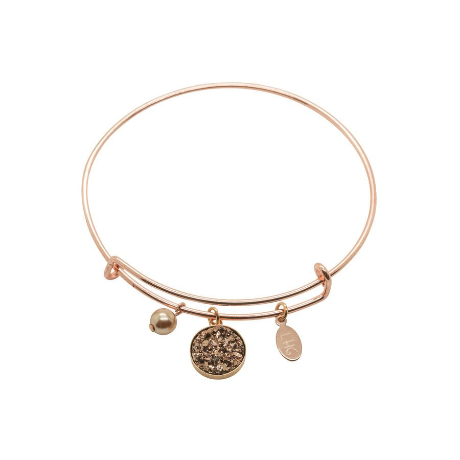 Druzy rose gold plated charm bracelet rose bracelets and gold