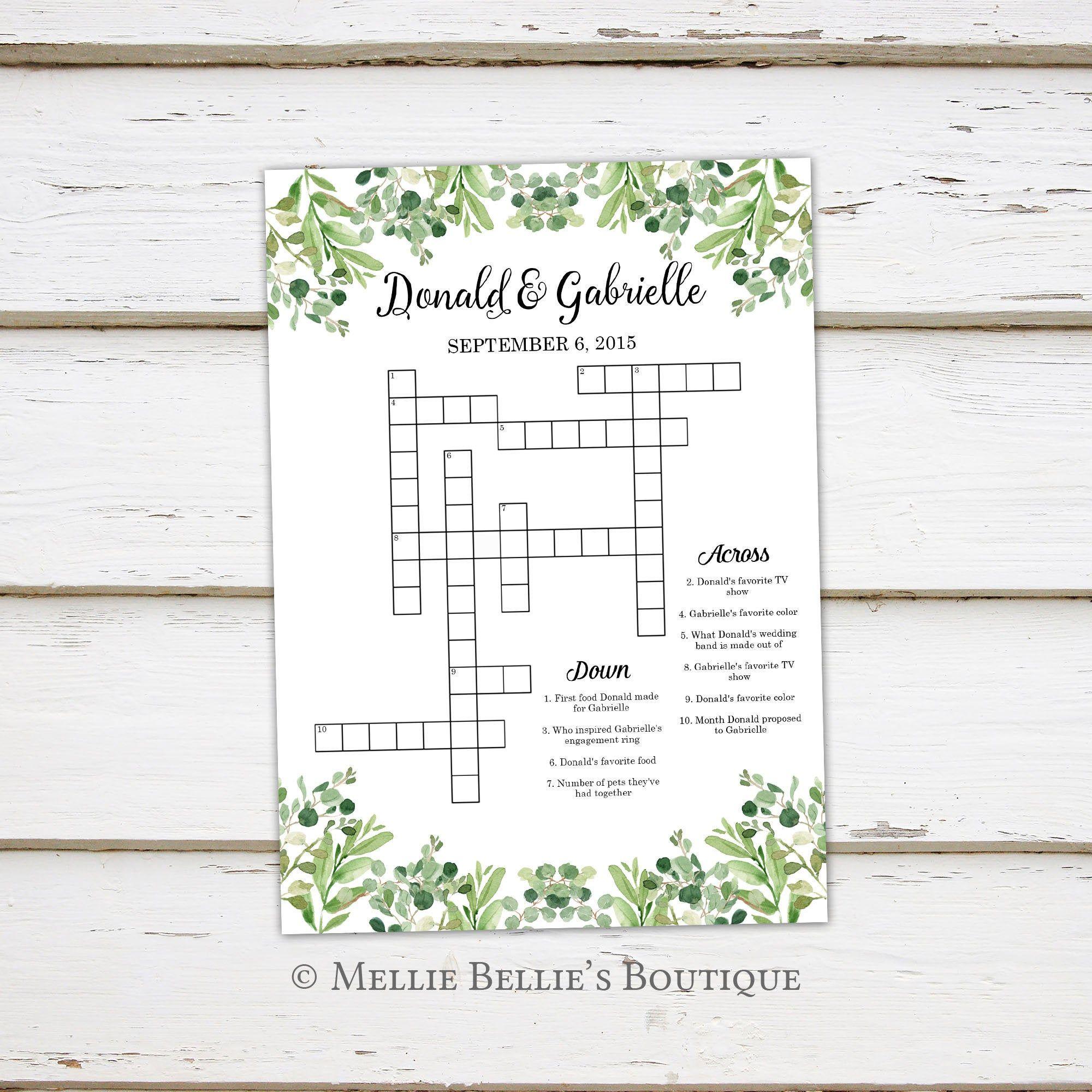 Printable Wedding Crossword Puzzle Game Games For Wedding Etsy In 2020 Wedding Crossword Puzzle Wedding Printables Crossword Puzzle