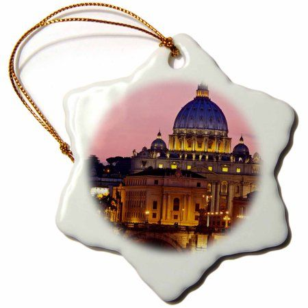 3dRose Ponte Sant Angelo, St Peters Basilica, Rome, Italy - EU16 BJN0164 - Brian Jannsen, Snowflake Ornament, Porcelain, 3-inch