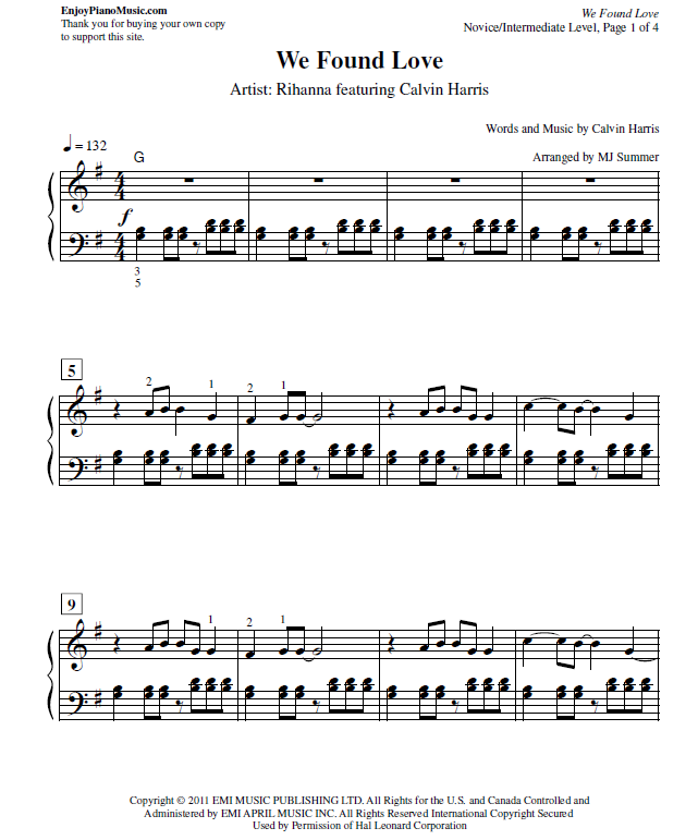 We Found Love Rihanna Sheet Music For Piano At Intermediate Level Song Sheet We Found Love Sheet Music