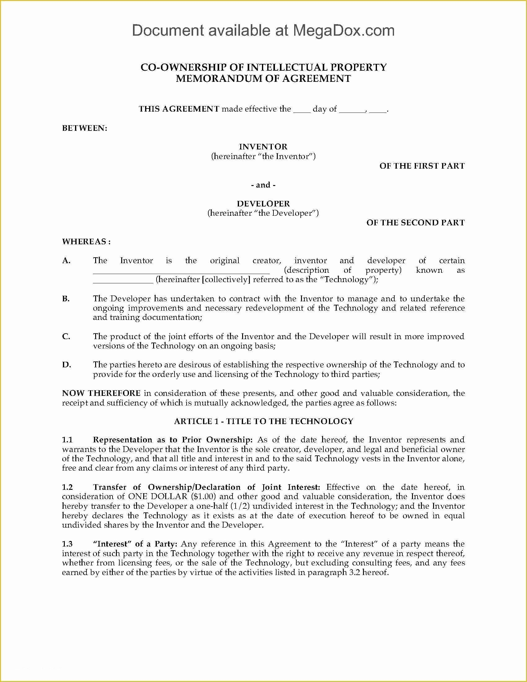 Intellectual Property Protection Agreement Template In 2020