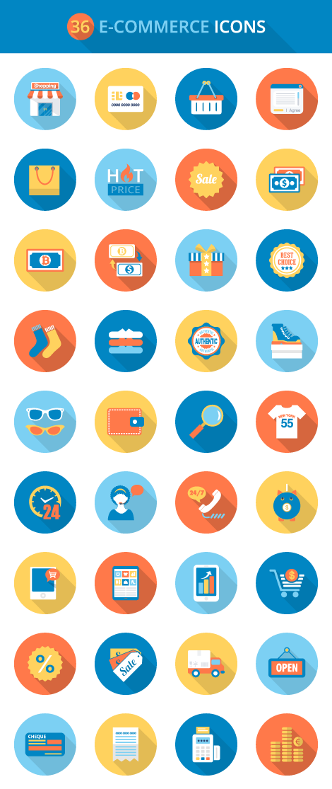 Flat e commerce icons set icons design pinterest icon set flat e commerce icons set altavistaventures Images