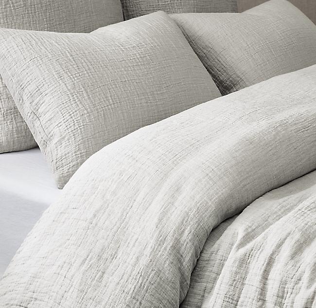 Italian Crinkled Linen Cotton Duvet Cover Luxury Bedding Cotton Duvet Cotton Bedding