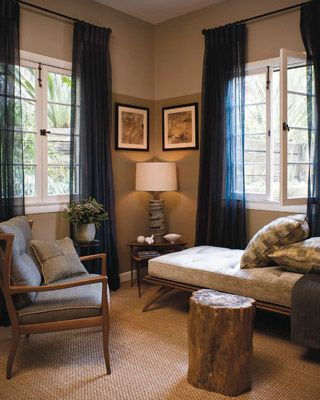 ideas for small spaces: using 2 paint shades + hanging curtains