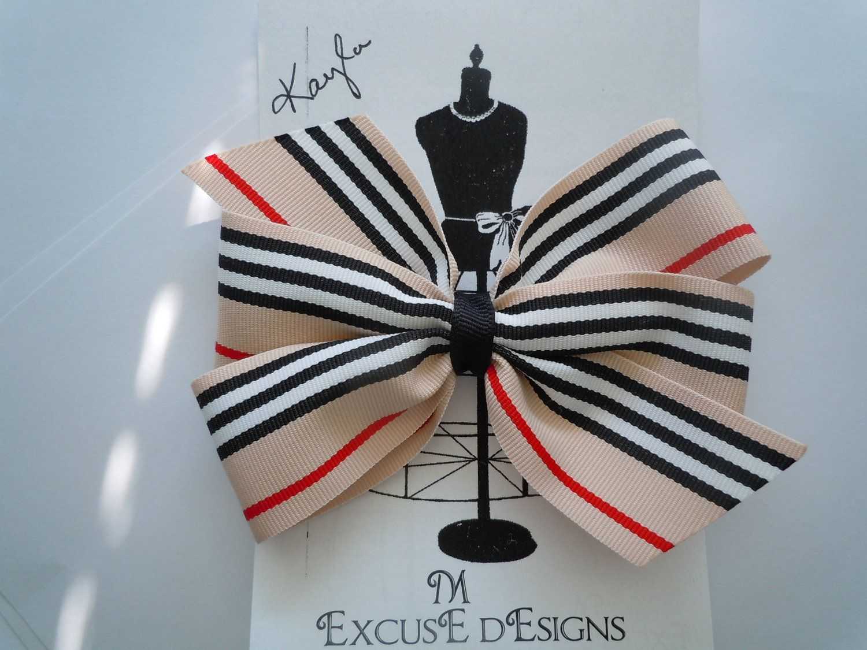"Preppy Stripe Ribbon Hairbow KAYLA very Burberry ""esque"