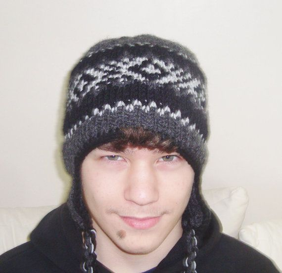Hand Knit Hat Mens Hat with Earflap Hat in Black by ...