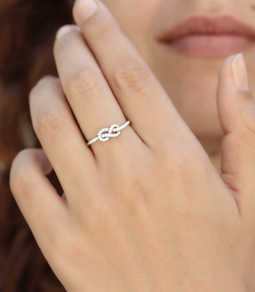 tiny wedding ring Petite Infinity Ring Diamond Wedding Band Solid Gold Infinity Knot Ring Gold Wedding Ring Cluster Ring Gold Rings for Women 14K White G
