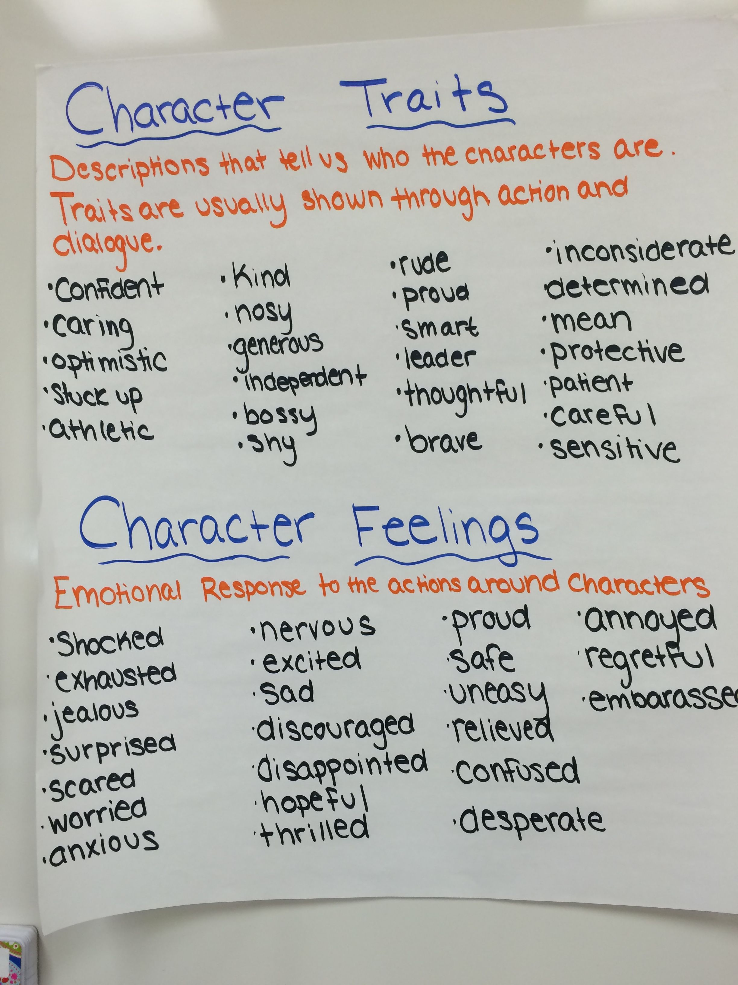 Character Traits Vs Feelings