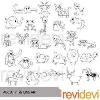 Alphabet Animals Clip Art Black And White Clipart Tpt Revidevi Clipart Alphabet Teacherspayteachers Abc Clip Art Line Art Animal Letters