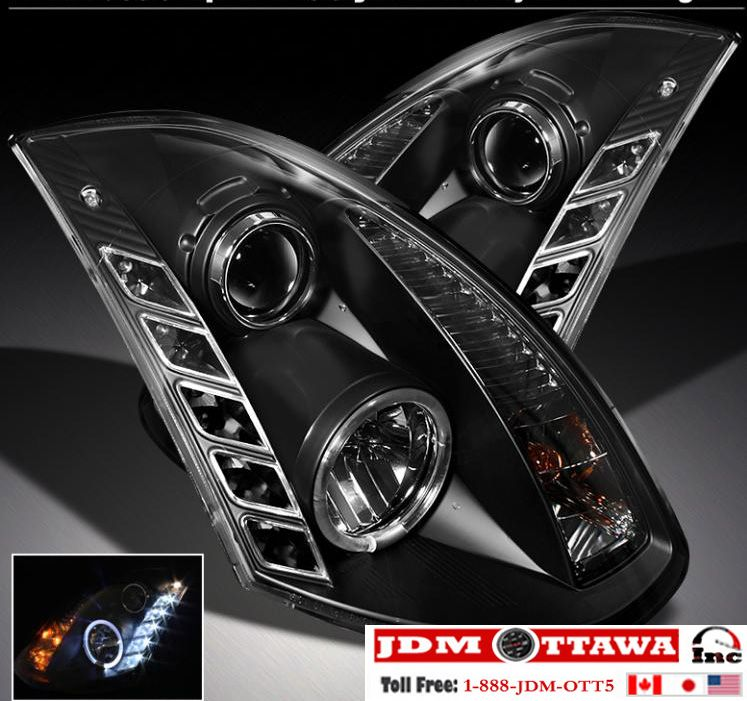 03-06 Infiniti G35 Coupe Black Halo DRL Projector & LED