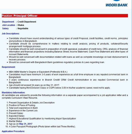 Woori Bank Job Circular 2017 .Woori Bank Probationary Officer
