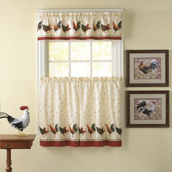 Chf Morning Rooster 3 Pc Tier Kitchen Curtain Set In 2020