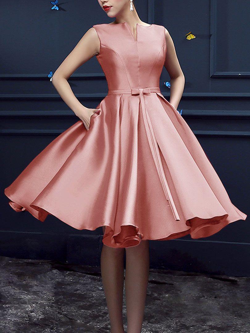 Peach Pink Bowknot Waist Lacing Back Midi Sleeveless Prom Dress ...