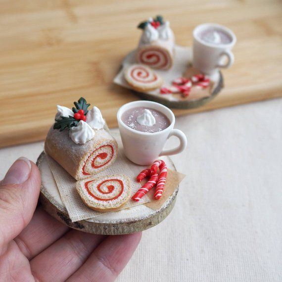 Cute christmas gift for dolls lovers Miniature cake and coffee 1/6