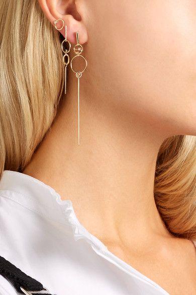 Sarah & Sebastian Foam Chain 14-karat Gold Diamond Earring LI6NvO