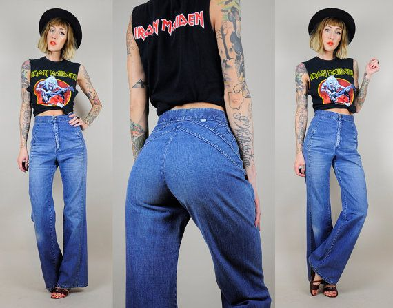 High waisted bell bottom jeans 70's