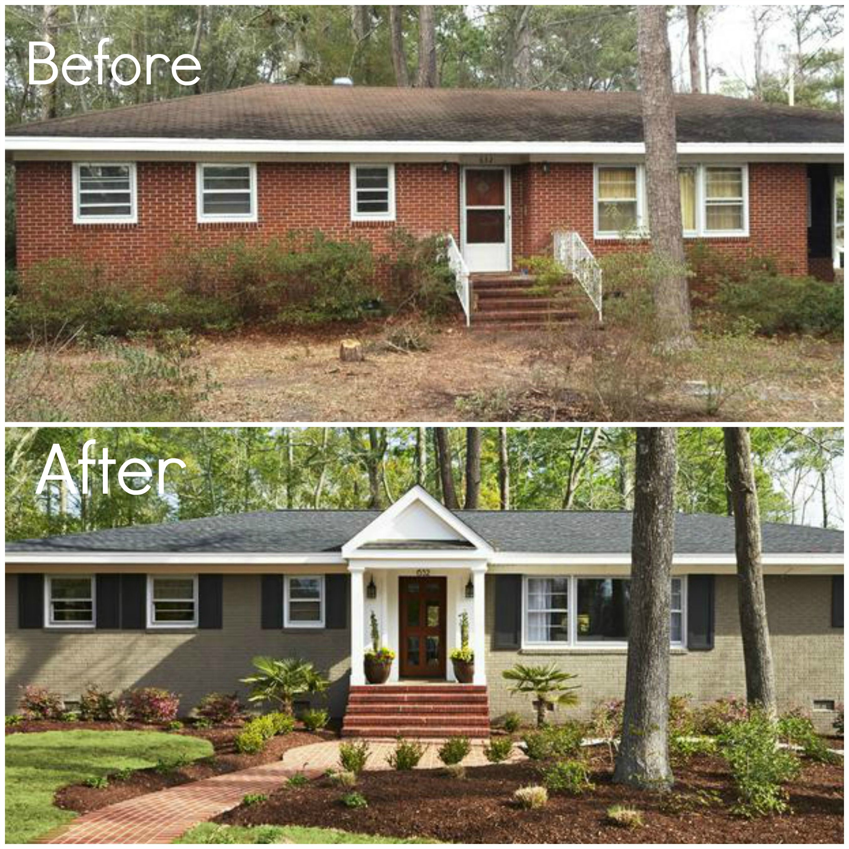 Before and after brick ranch home exterior pinterest brick ranch bricks and home renovation House transformations exterior
