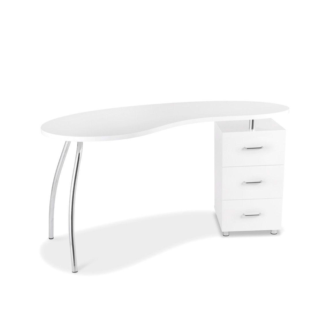 Attraktiv Schreibtisch Weiß Mit Schubladen Dekoration Von Weiss Chromgestell 3 140x77 Groove, Weiss Metall