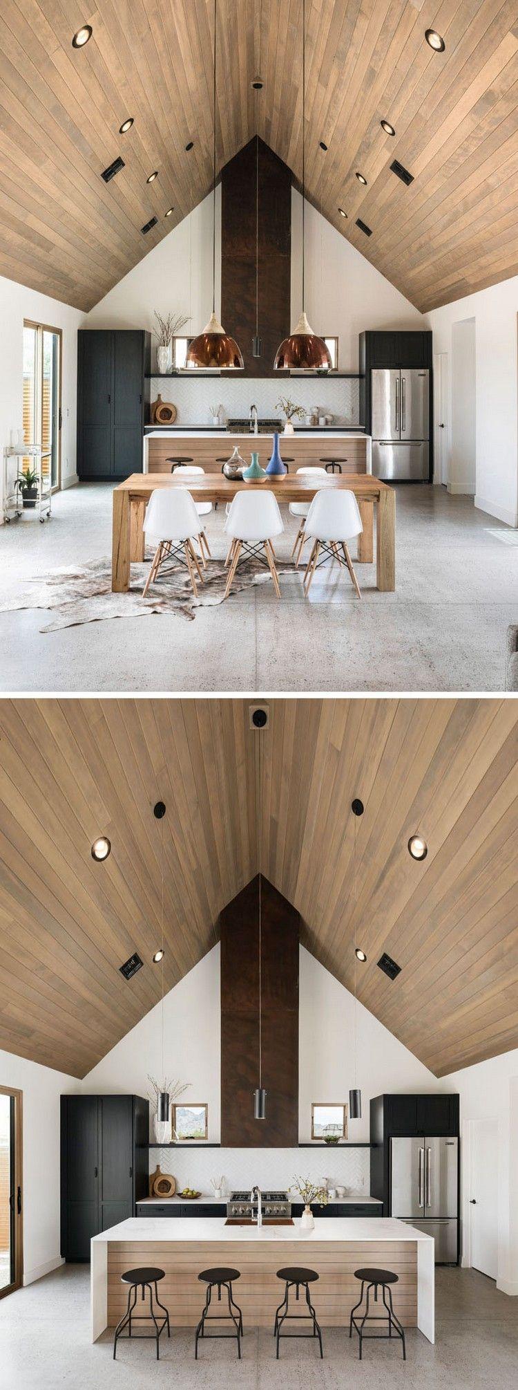 holzdecke modern küche essbereich akzente kupfer rost #architecture ...