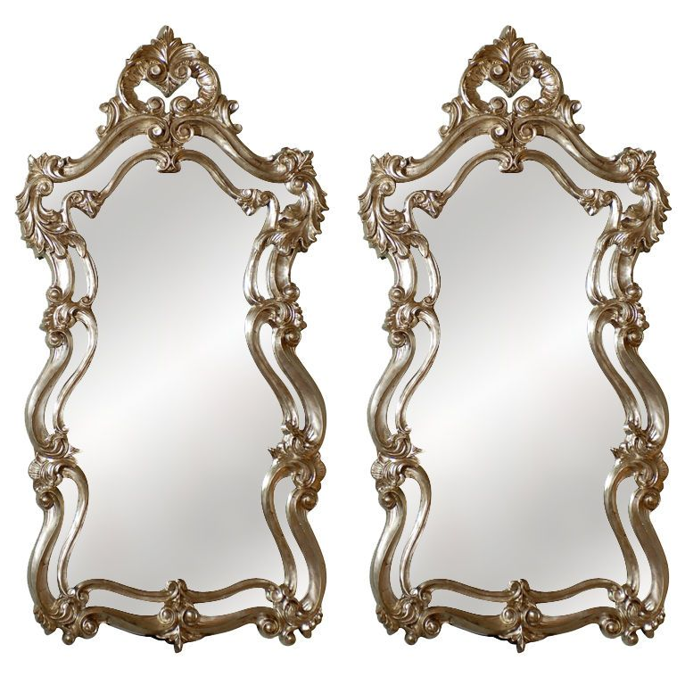 Pair Of Rococo Silver Leaf Mirrors At Nice Ideas