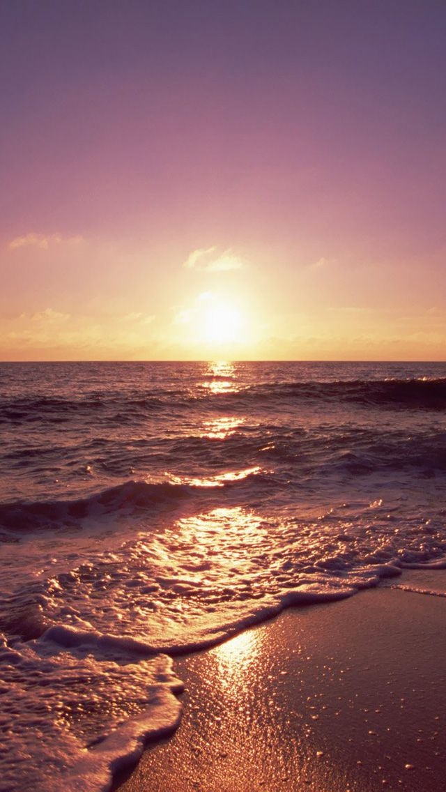 Ocean Sunset Foamy Waves IPhone 5 Wallpaper