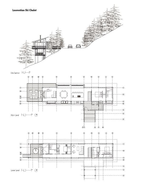 Laurentian Ski Chalet - Picture gallery plan 2d/ 3d Pinterest