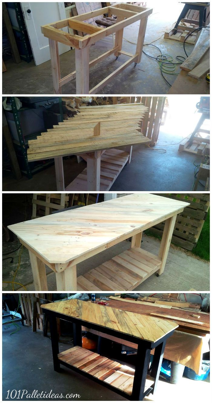 Kitchen island pallet wood - Pallet Kitchen Island With Pattern Top 101 Pallet Ideas