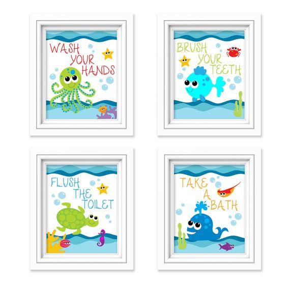 Kids Bathroom Art Sea Creature Bathroom Print Set Under The Sea Kids Bathroom Decor Bathroom Rules Instant Download Printable 8x10