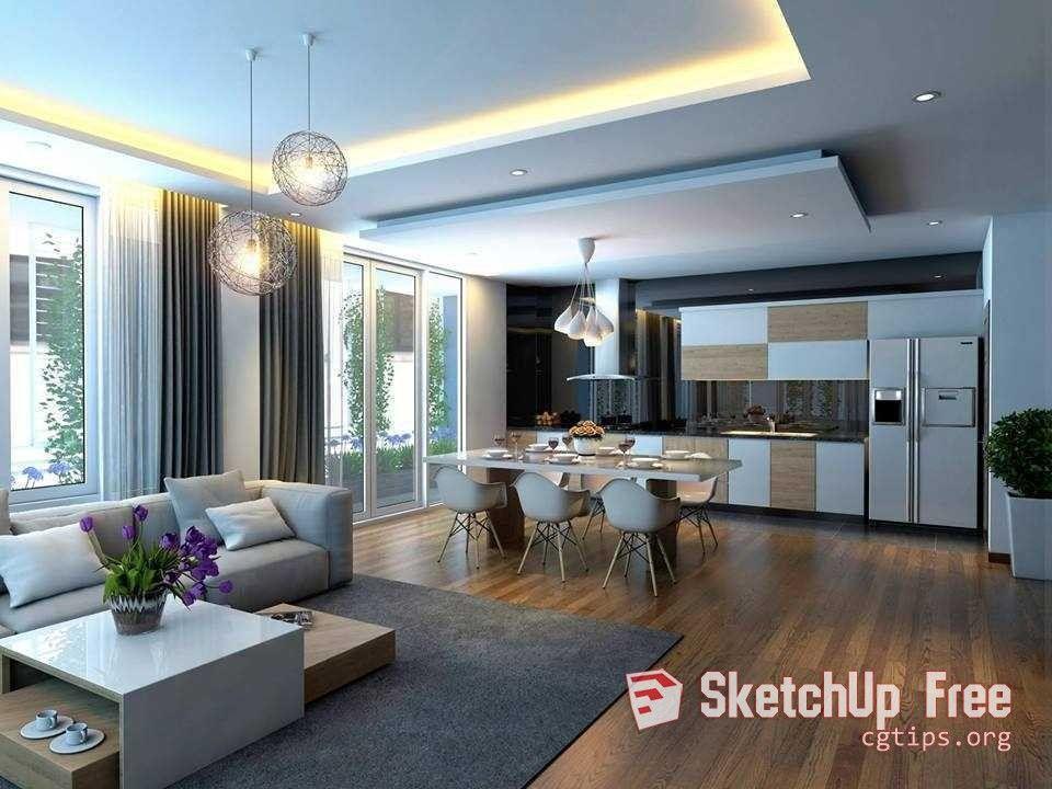 1306 Interior Kitchen Livingroom Sketchup Model By Manh Do Free
