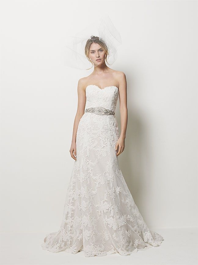 Romantic Lace A Line Wedding Dress With Beaded Bridal Belt