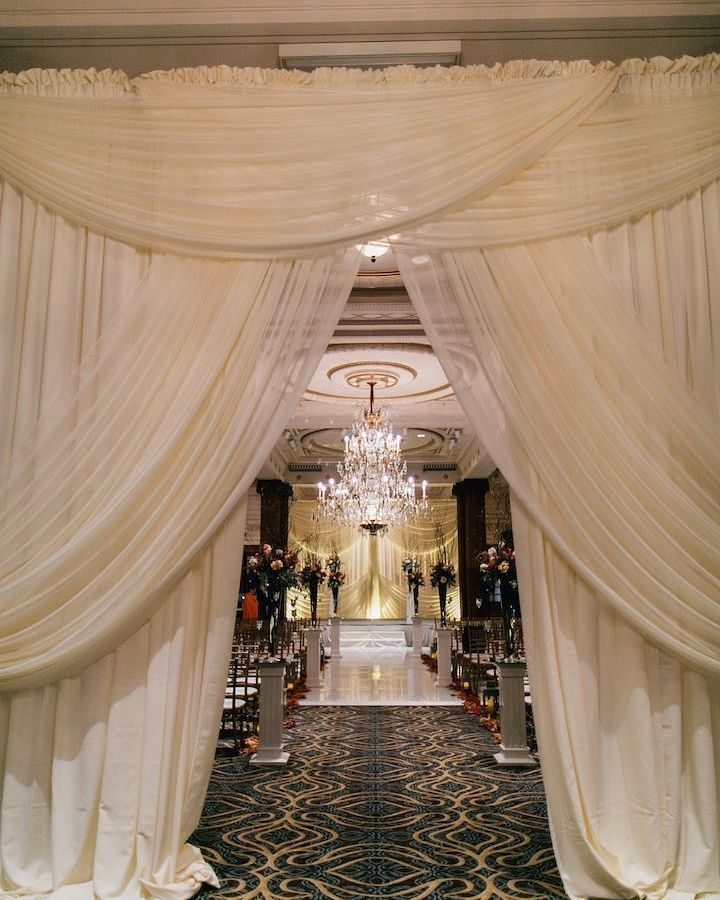 Wedding At The Altar: Wow! Fab Wedding Entrance With Gold Accent #uplighting At
