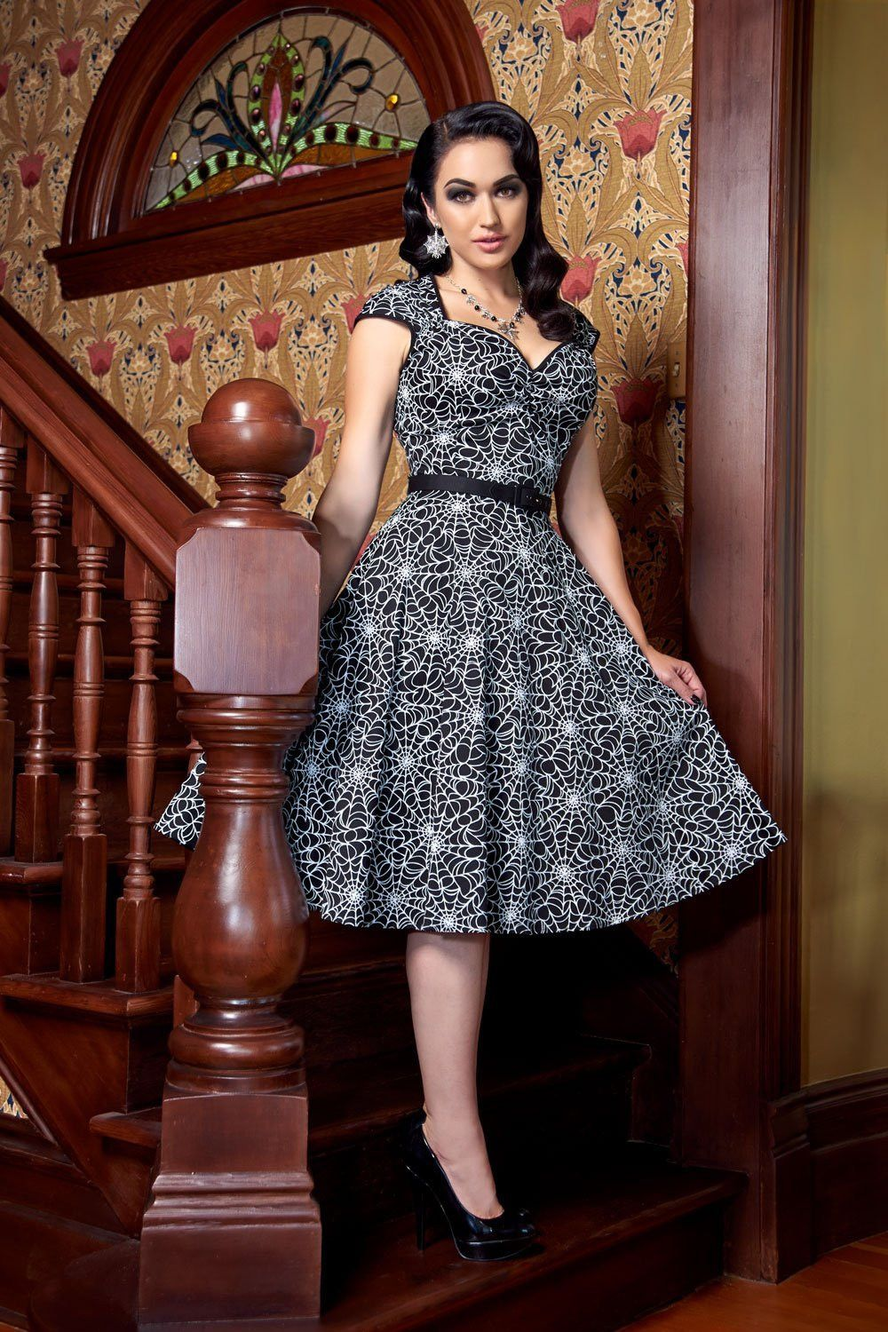 Pinup couture vintage goth pinup capsule collection heidi dress