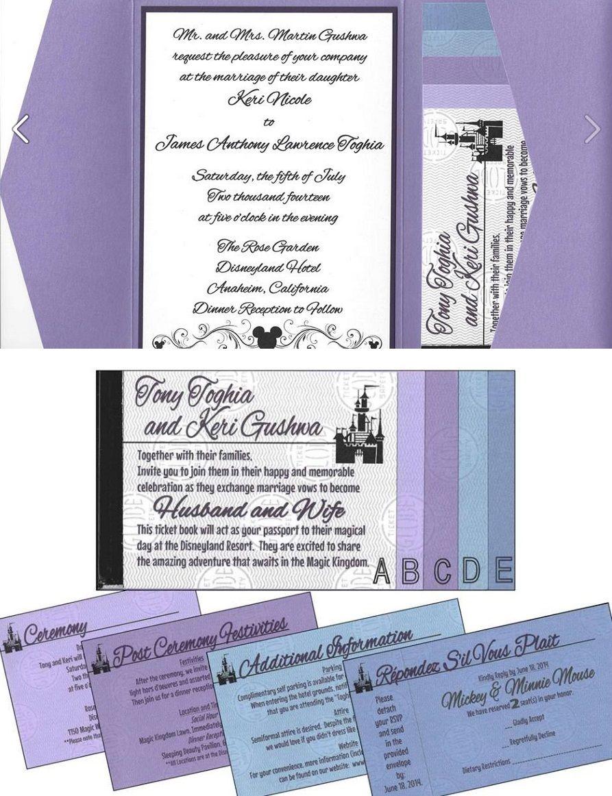 Keri Tony S Disneyland Ticket Book Wedding Invitations Disney Wedding Invitations Disneyland Wedding Book Wedding Invitations