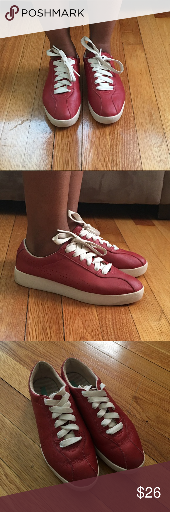 Red Leather Pumas Stylish red leather Pumas. Comfortable Puma Shoes Athletic Shoes