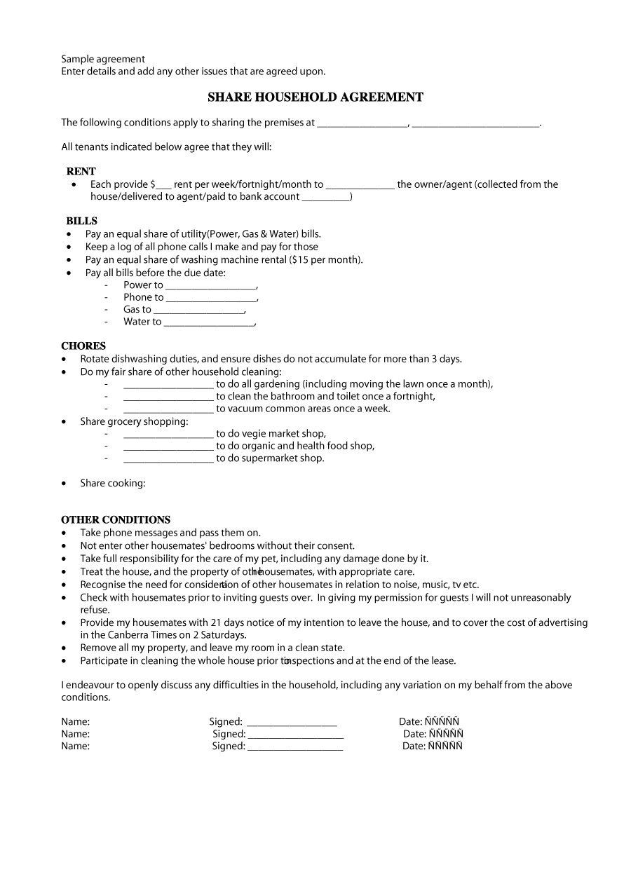Download roommate agreement template 25 Roommate