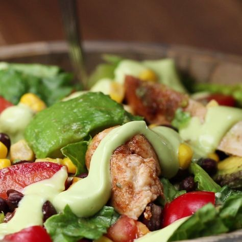This Southwestern Salad With Avocado Dressing Will