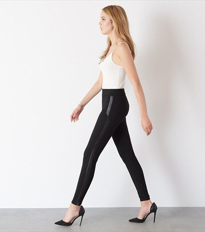 Legging with Faux Leather Details