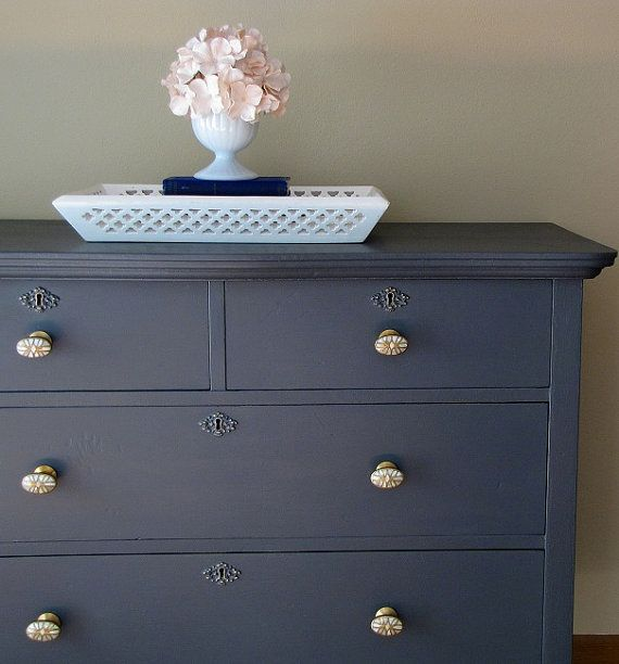 Antique Dark Grey Dresser With Antique Brass And Mother Of Pearl Knobs  #painted #dresser