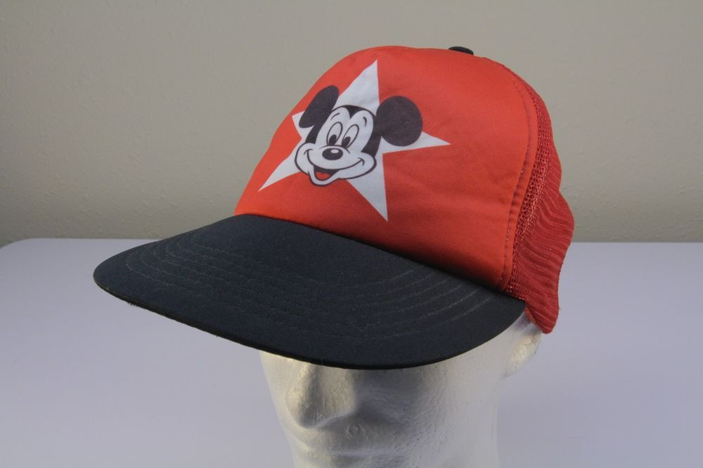 a663429df7a Vintage Red Black Disney World Land Mickey Mouse Snapback Mesh Trucker Hat