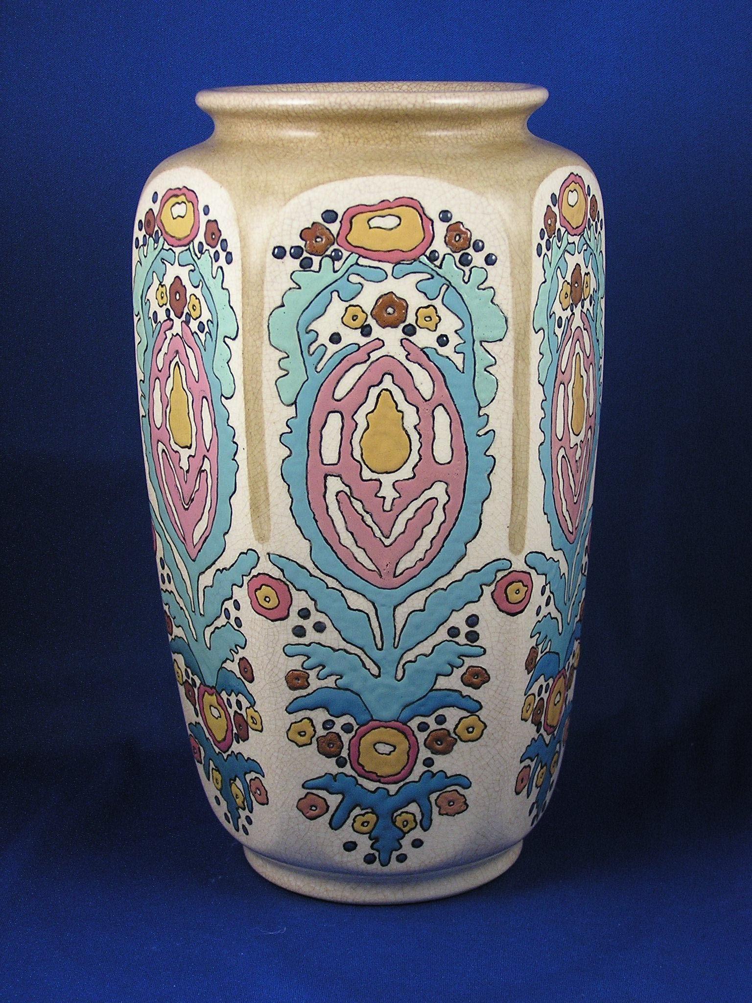American Satsuma Enameled Arts & Crafts Floral Motif Vase