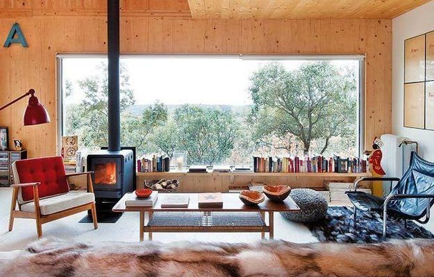 Wooden House in Spain, design, décor, interior, Spain, Madrid, wooden, house, living room