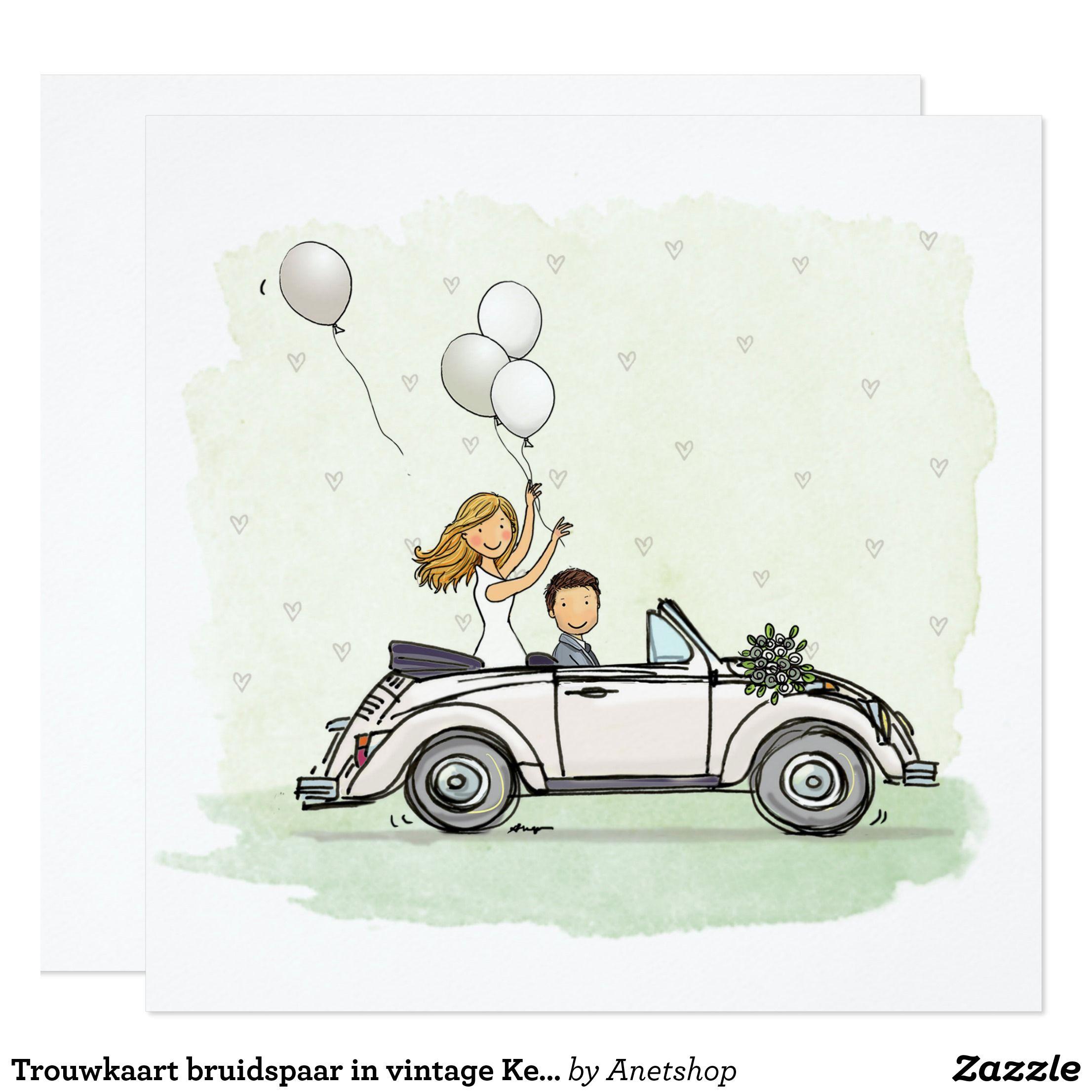 Voorkeur Trouwkaart bruidspaar in vintage Kever cabrio | Zazzle.nl &JP92