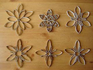 Formes de fleurs de decoration en rouleaux de papier toilette