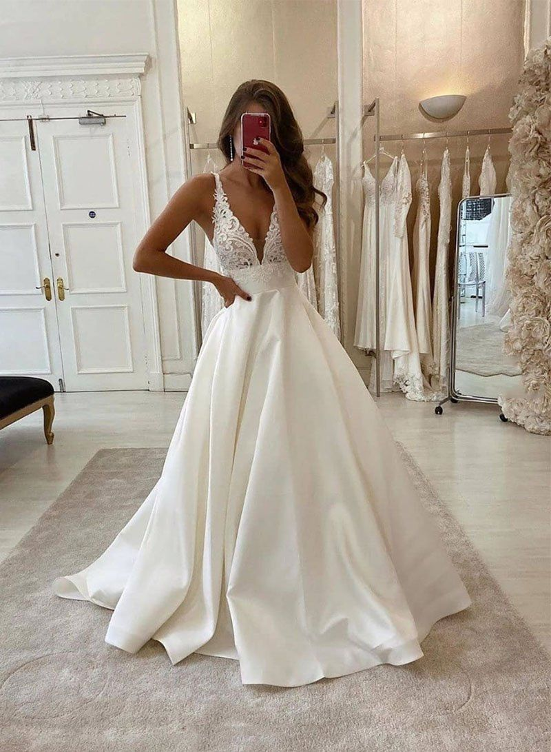 White V Neck Satin Lace Long Prom Dress Evening Dress Wedding Dress In 2020 Wedding Dresses Cheap Wedding Dresses Online Online Wedding Dress