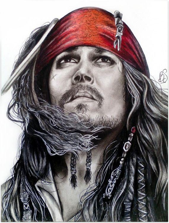 Dessin Portrait Pirate Des Caraïbes Jack Sparow Noir