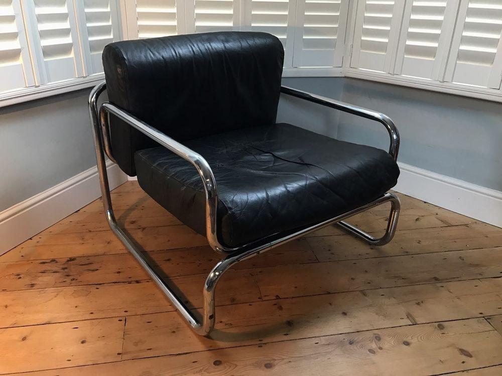 Rodney Kinsman Omk Black Leather Chair Tubular Chrome Frame 1960s