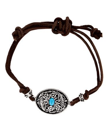 Another great find on #zulily! Brown & Turquoise Frontier Buckle Adjustable Bracelet #zulilyfinds