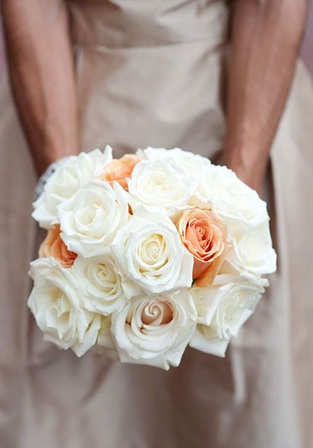 White and pink rose bride's bouquet